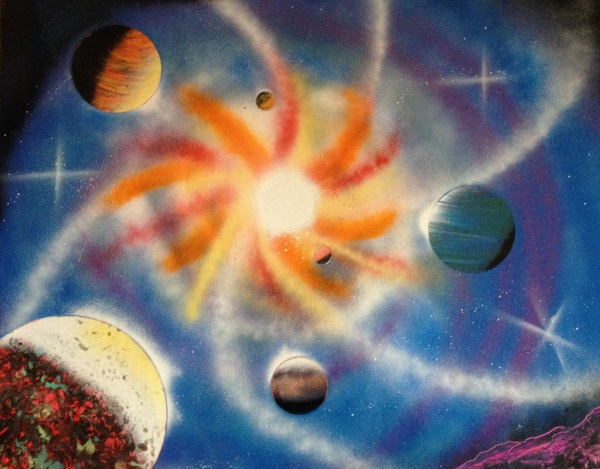 spray paint art five planets and galaxy swirl