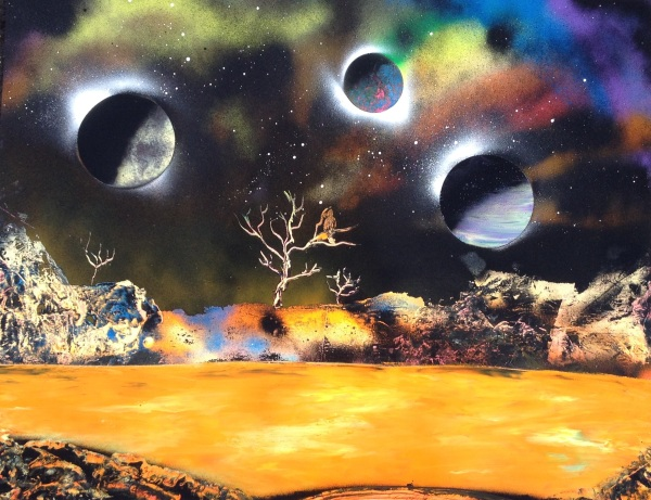 spray paint art four planets lake bird tree