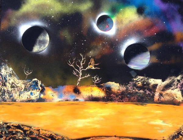 spray paint art four planets lake bird tree