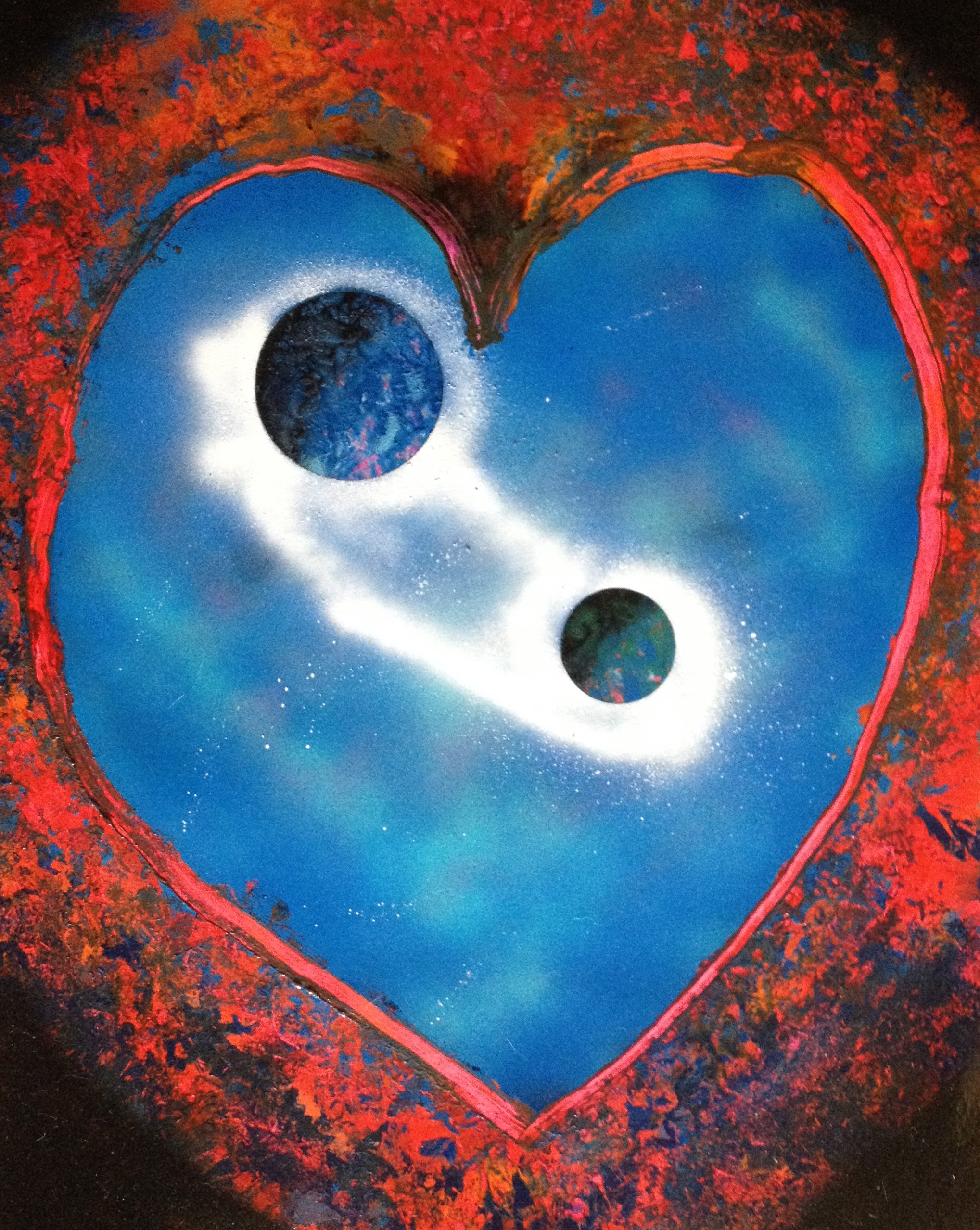 22 x 28 spray paint art heart and two planets