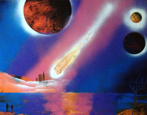 spray paint art lake fire ball city three planets 65percent