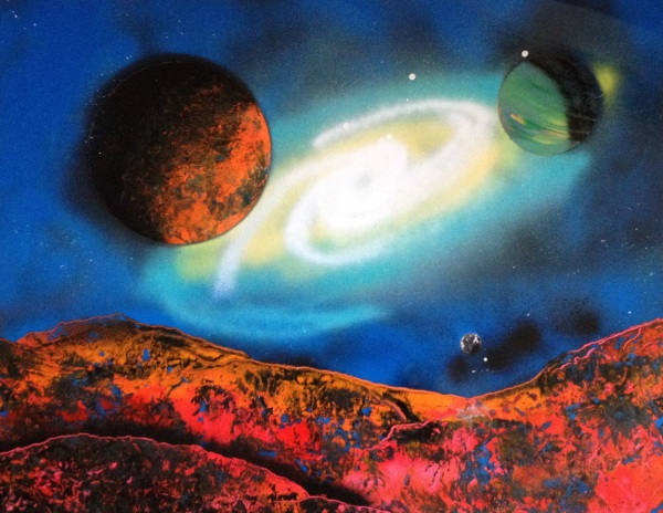 spray paint art two planets moon and spiral galaxy