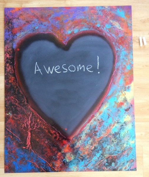 awesome chalkboard heart with chalk small