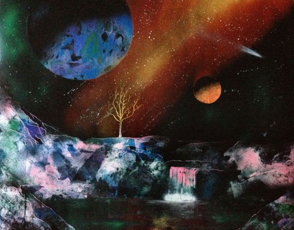 spray painting two planets tree waterfall lake