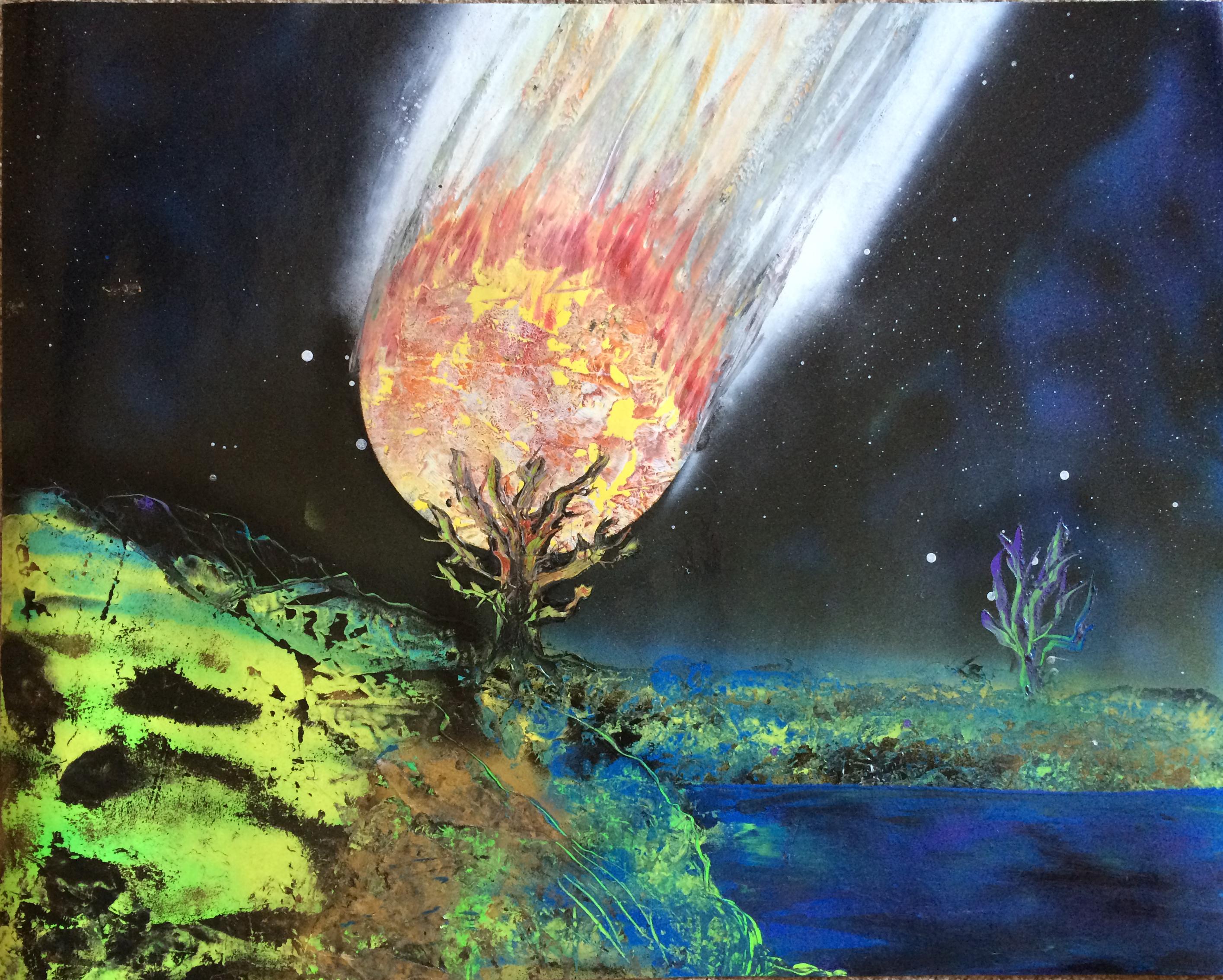 22 X 28 Spray Paint Art Huge Meteor Destroying Innocent